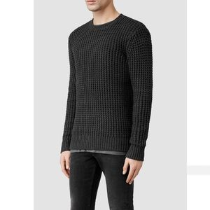 All Saints Mast Chunky waffle Knit Crew Sweater